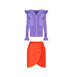 beautiful lilac shirt and red skirt color poster vector image