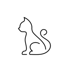 Black cat thin line icon vector image