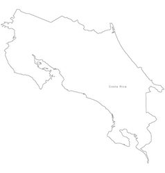 Black white costa rica outline map vector