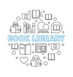 Book library concept round outline vector