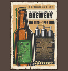 Brewery premium quality beer retro poster vector