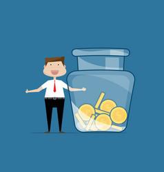 businessman with jar money vector image