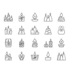 Candle flame simple black line icons set vector