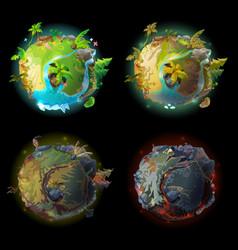 cartoon planet evolution game design set vector image