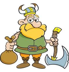 Cartoon Viking holding an axe vector image