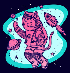 Cat astronaut soaring in vector