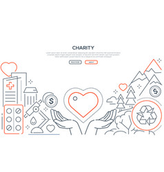 charity - modern line design style web banner vector image