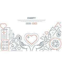 Charity - modern line design style web banner vector