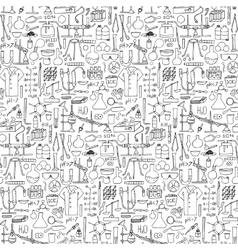 Chemistry doodle seamless pattern vector image