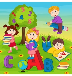 Children on grass reading book vector
