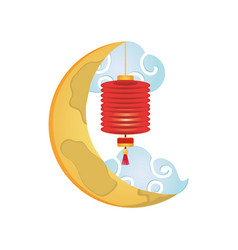 Chinese crescent with clouds mid autumn festival vector