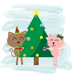 Christmas cat cartoon vector