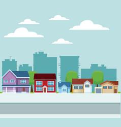 City buildings cartoon vector