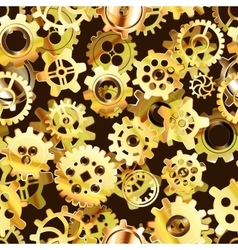 Clockwork mechanism seamless pattern with golden vector