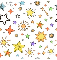 Collection of handdrawn stars seamless pattern vector