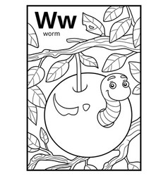 Coloring book colorless alphabet letter w worm vector