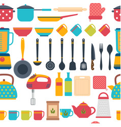 Cooking utensils background seamless pattern with vector