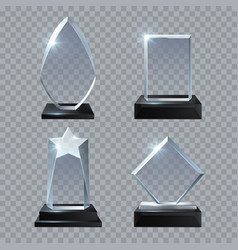 crystal glass blank trophy awards isolated vector image