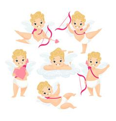 Cute baby cupids flat set vector