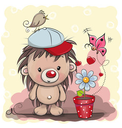 Cute cartoon hedgehog with flower vector