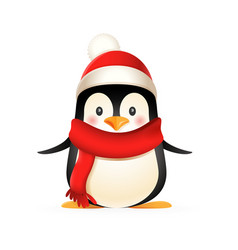 cute penguin wear winter clothes vector image