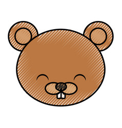 Cute scribble beaver cartoon vector