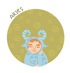 cute zodiac sign - aries vector image