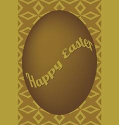 Dark gold egg easter card on shuriken pattern vector image