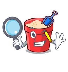 Detective sand bucket character cartoon vector