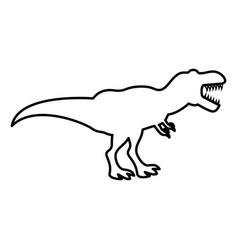 dinosaur tyrannosaurus t rex icon black color vector image