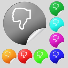 Dislike icon sign Set of eight multi colored round vector image