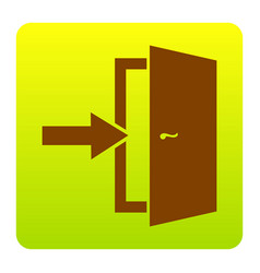 door exit sign brown icon at green-yellow vector image
