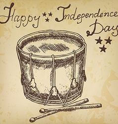 Drum with drumstiks American symbol forth of july vector image
