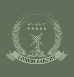 Farm or bakery logo or label with sketch line vector