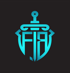 Fb logo monogram with sword and shield vector