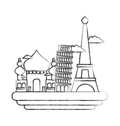Figure taj mahal and leaning tower of pisa with vector