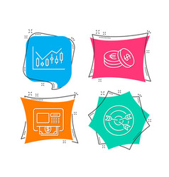 financial diagram savings and atm icons vector image