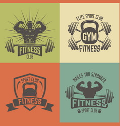 Fitness sport club vintage emblems vector
