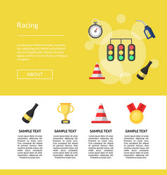flat car racing icons template vector image