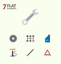 flat icon workshop set of petrol wheel pump vector image