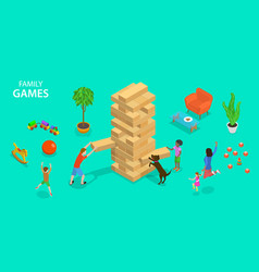 Flat isometric concept family games vector