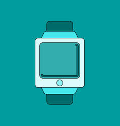 flat on background digital watch vector image