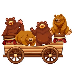 Four bears standing on the wooden wagon vector image