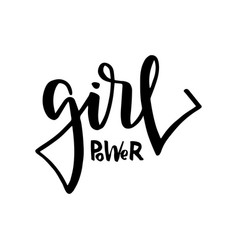 girl power text feminism slogan black vector image