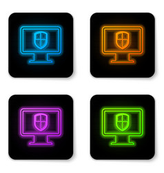 Glowing neon computer monitor and shield icon vector