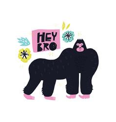 Gorilla hand drawn poster vector
