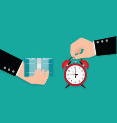 hand holding exchanging time with money vector image