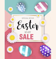 Happy easter super offer discounts promotion vector