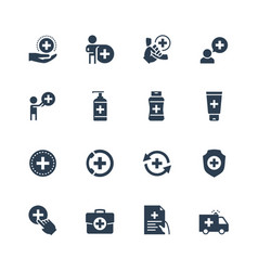 healthcare icon set in glyph style vector image