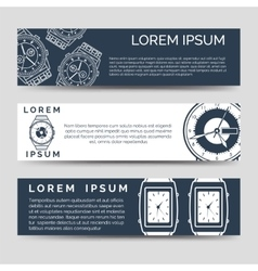 Horizontal banners set with watch icons vector image
